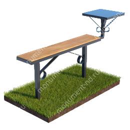 Лавочка с деревянным верхом и столиком совмещённые Л-007 40*40 см.100х20см/80 см