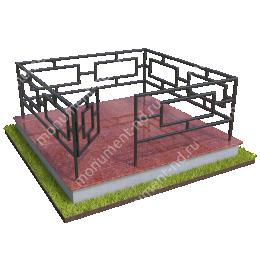 Бетонный цоколь полный подиум  с оградой на могилу БЦППО-003_1 # 200х180 см.