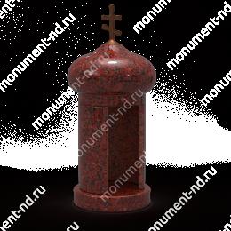 Лампада на могилу-005К гранит/металл/стекло цвет красный 35х15