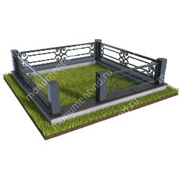 Гранитный цоколь с оградой ГЦО-07 гранит/металл