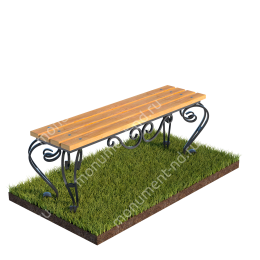 Лавочка с элементами ковки на могилу Л-005 80х100х30 см