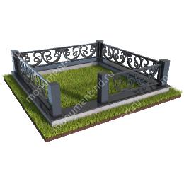 Гранитный цоколь с оградой ГЦО-03  гранит/металл