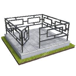 Бетонный цоколь полный подиум с оградой на могилу БЦППО-003_3 # 200х180 см