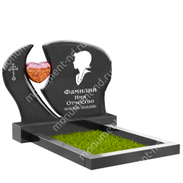 ПС-13 - Памятник с сердцем гранит габбро цвет черный 80*100*8