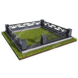Гранитный цоколь с оградой ГЦО-09  гранит/металл