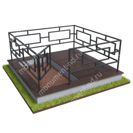 Бетонный цоколь полуподиум с оградой на могилу БЦПО-002-1 # 200х180 см.