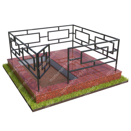 Бетонный цоколь полуподиум с оградой на могилу БЦПО-002-2 # 1