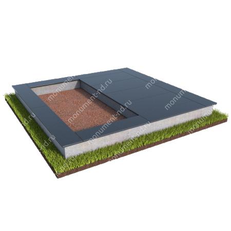 Бетонный цоколь на могилу полуподиум БЦП-002_1 # 1