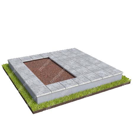 Бетонный цоколь на могилу полуподиум БЦП-002_4 # 2