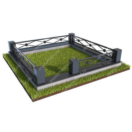 Гранитный цоколь с оградой ГЦО-014