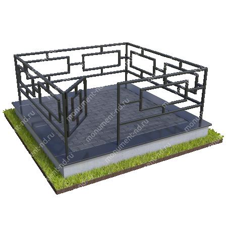 Бетонный цоколь с оградой на могилу БЦО-001_5 # 2