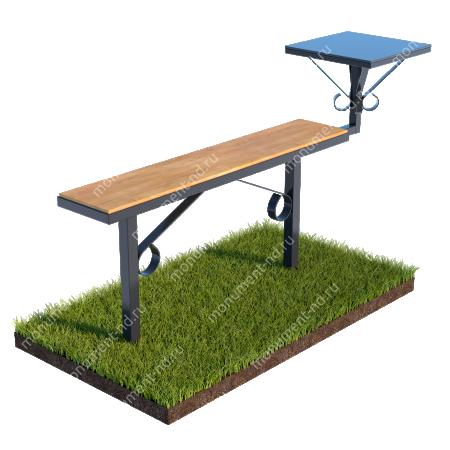 Лавочка с деревянным верхом и столиком совмещённые Л-007 1