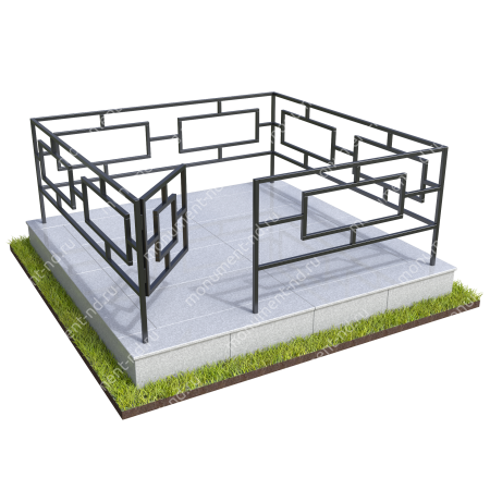 Бетонный цоколь полный подиум с оградой на могилу БЦППО-003_2 # 2