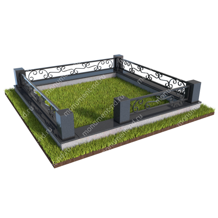 Гранитный цоколь с оградой ГЦО-09  1