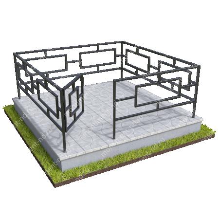 Бетонный цоколь полный подиум с оградой на могилу БЦППО-003_3 # 2