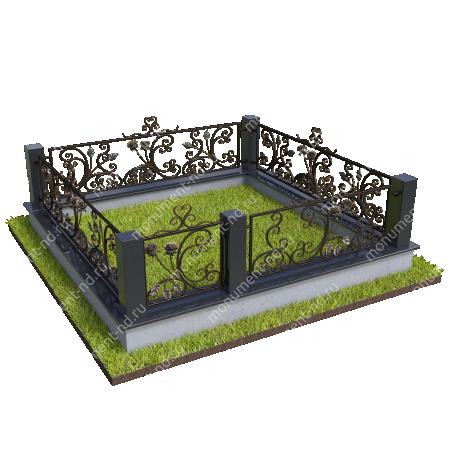 Гранитный цоколь с оградой ГЦО-020