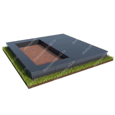 Бетонный цоколь на могилу полуподиум БЦП-002_3 # 1