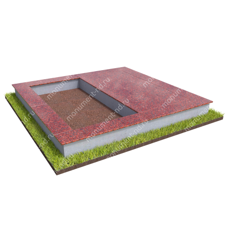 Бетонный цоколь на могилу полуподиум БЦП-002_1 # 2