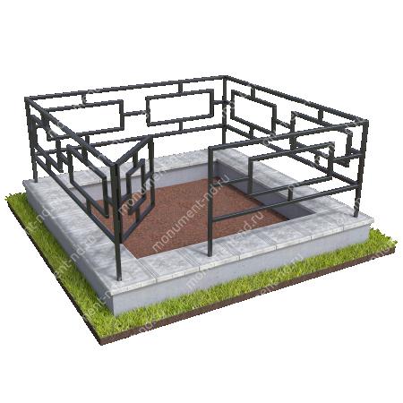 Бетонный цоколь с оградой на могилу БЦО-001_3 # 2