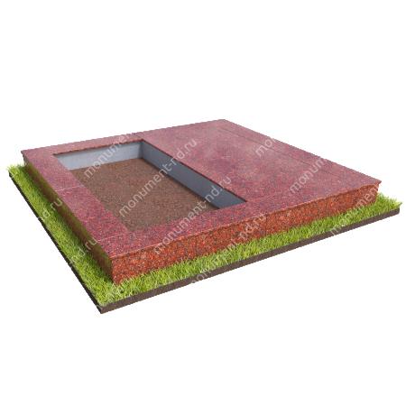 Бетонный цоколь на могилу полуподиум БЦП-002_2 # 1