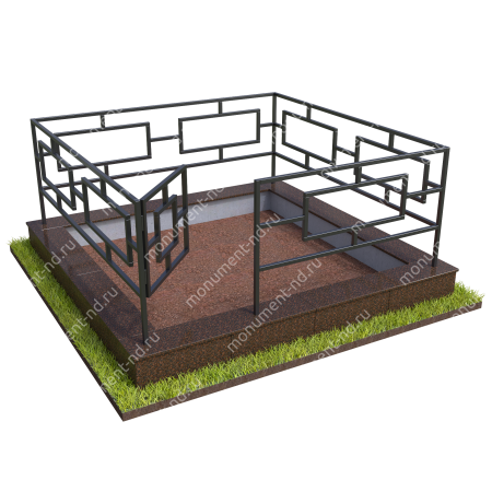 Бетонный цоколь с оградой на могилу БЦО-001_2 # 1