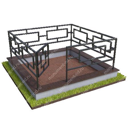 Бетонный цоколь с оградой на могилу БЦО-001_1 # 2