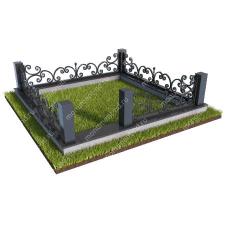 Гранитный цоколь с оградой ГЦО-02 1