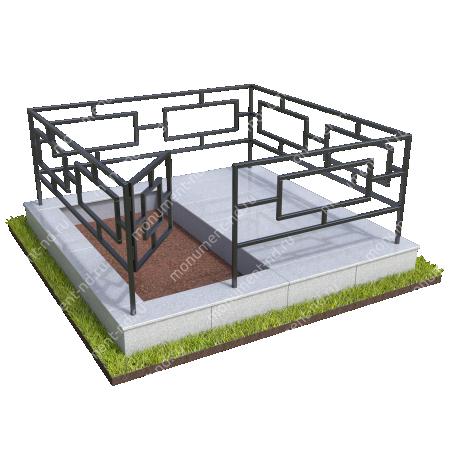 Бетонный цоколь полуподиум с оградой на могилу БЦПО-002-2 # 2