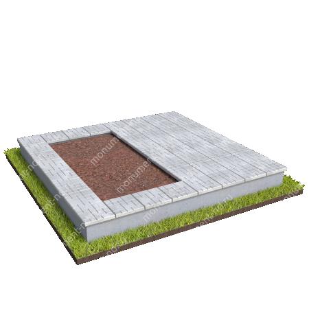 Бетонный цоколь на могилу полуподиум БЦП-002_4 # 1