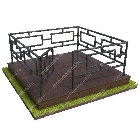 Бетонный цоколь полный подиум с оградой на могилу БЦППО-003_2 # 1