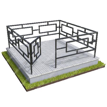 Бетонный цоколь полный подиум с оградой на могилу БЦППО-003_3 # 4