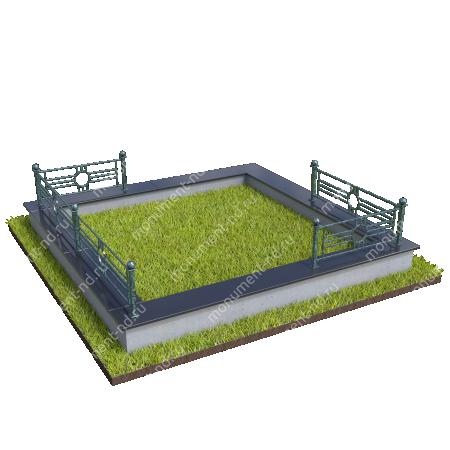 Гранитный цоколь с оградой ГЦО-22