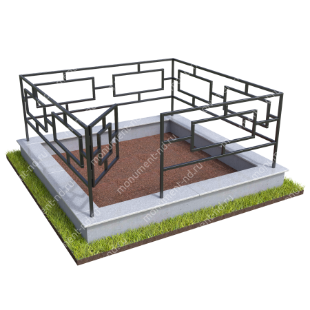 Бетонный цоколь с оградой на могилу БЦО-001_1 # 3
