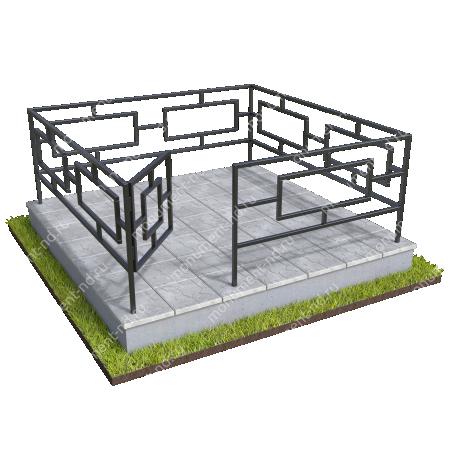 Бетонный цоколь полный подиум с оградой на могилу БЦППО-003_3 # 1