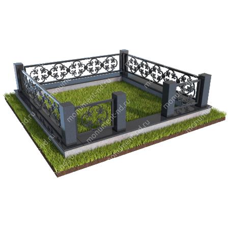 Гранитный цоколь с оградой ГЦО-08  1