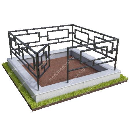 Бетонный цоколь с оградой на могилу БЦО-001_2 # 3