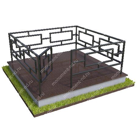 Бетонный цоколь полный подиум  с оградой на могилу БЦППО-003_1 # 2