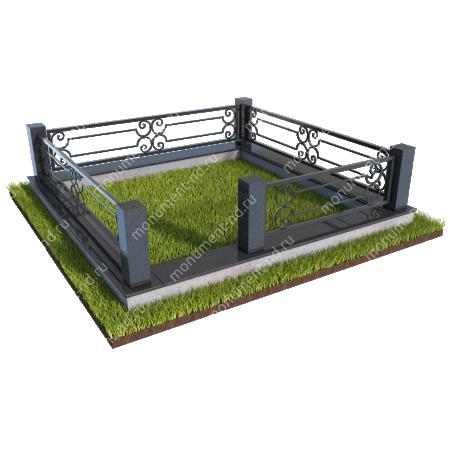 Гранитный цоколь с оградой ГЦО-07