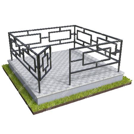 Бетонный цоколь полный подиум с оградой на могилу БЦППО-003_3 # 5