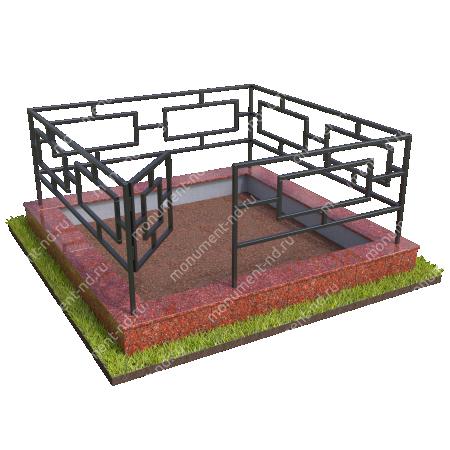 Бетонный цоколь с оградой на могилу БЦО-001_2 # 2
