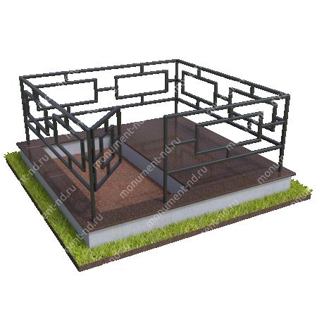 Бетонный цоколь полуподиум с оградой на могилу БЦПО-002-1 # 1