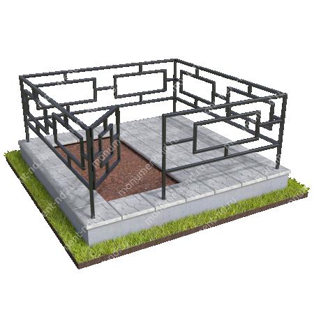 Бетонный цоколь полуподиум с оградой на могилу БЦПО-002-3 # 2