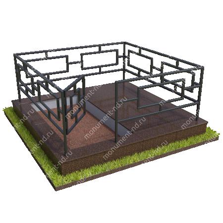 Бетонный цоколь полуподиум с оградой на могилу БЦПО-002-2 # 3