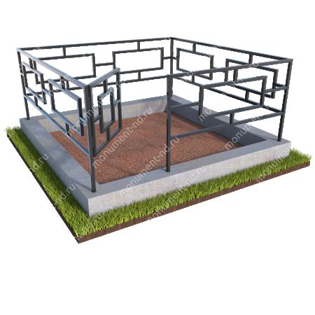 Бетонный цоколь с оградой на могилу БЦО-001 # 1