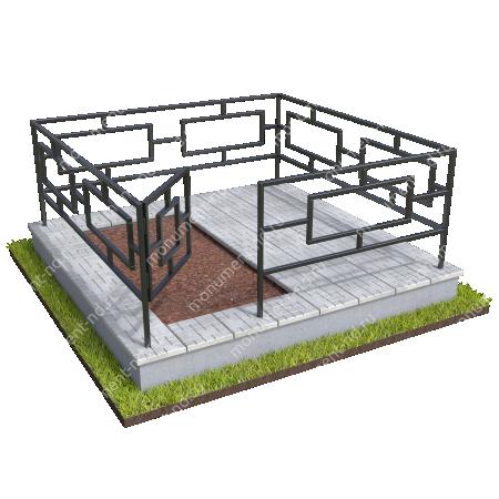 Бетонный цоколь полуподиум с оградой на могилу БЦПО-002-3 # 1