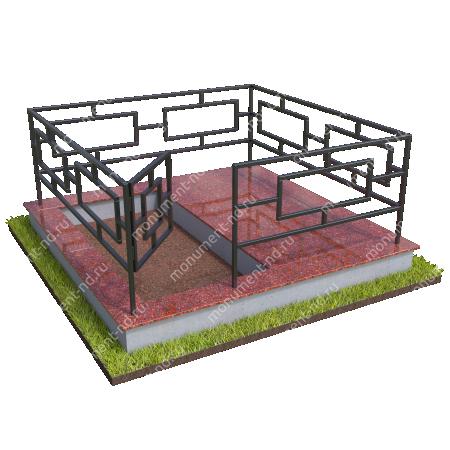 Бетонный цоколь полуподиум с оградой на могилу БЦПО-002-1 # 2
