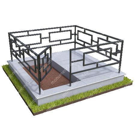 Бетонный цоколь полуподиум с оградой на могилу БЦПО-002-1 # 3