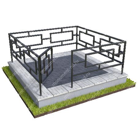Бетонный цоколь с оградой на могилу  БЦО-001_4 # 1