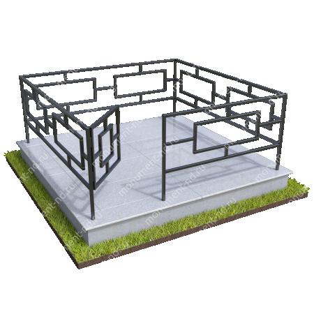 Бетонный цоколь полный подиум  с оградой на могилу БЦППО-003_1 # 3