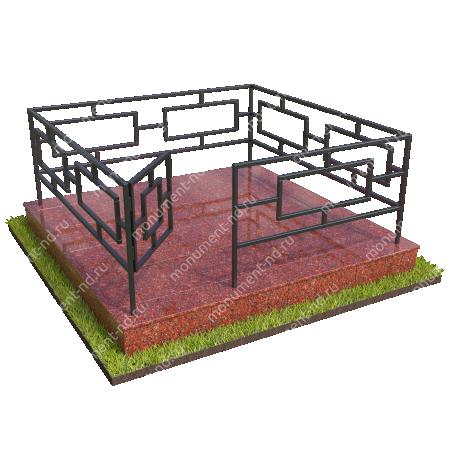 Бетонный цоколь полный подиум с оградой на могилу БЦППО-003_2 # 3